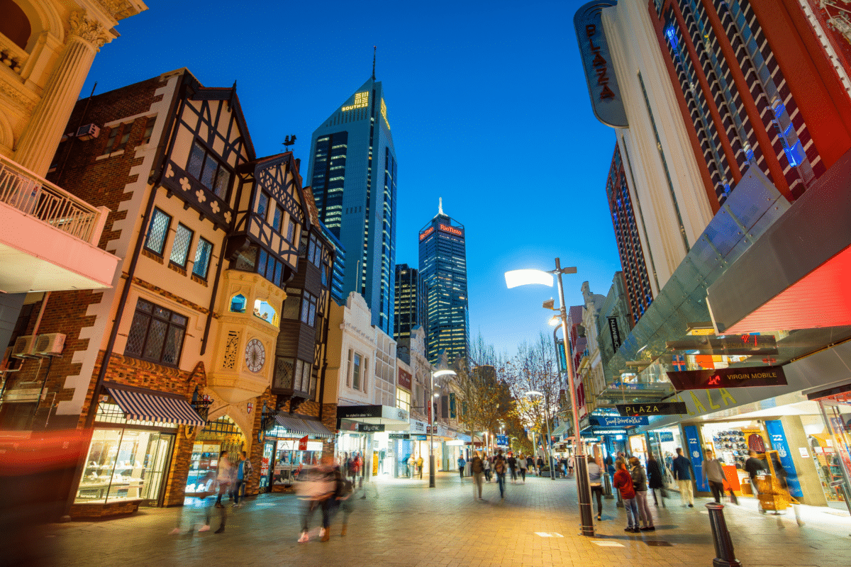 downtown district in perth